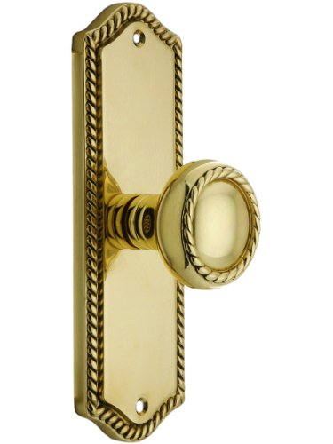 (Colonial Revival Rope Design Door Set With Matching Rope Knobs Privacy In Polished Brass. Antique Hardware Knobs.)