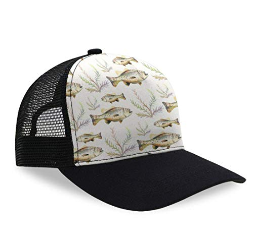 YongColer Essential Dad Baseball Cap for Women Men Teens - Moisture Wicking Breathable Snapback Cap Dad Cap Hip Hop Tennis Cap Relaxed Fit Cycling Cap, Watercolor Bass Fish Seaweed - Bass Indiana Guitars