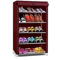 Ebee 5 Shelves Shoe Rack with Cover (Maroon)