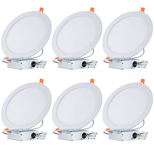 (Tonnled 18W 8 Inch Ultra-Thin Recessed Ceiling Light with Junction Box, 3000K Warm White, 1350lm, Not Dimmable Recessed Flat LED Panel Light for Home, Office, Commercial Lighting, Pack of 6)