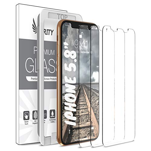 Purity Screen Protector for Apple iPhone 11 Pro/iPhone Xs/iPhone X - 3 Pack (w/Installation Frame) Tempered Glass Screen Protector Compatible iPhone XS/X/11Pro (3 Pack) [Fit with Most Cases] (Best Tempered Glass Screen Protector For Iphone X)