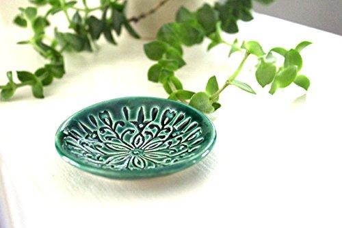 Green Ring Dish Handmade Bohemian