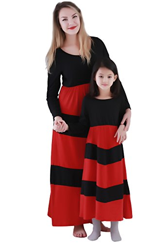 OMZIN Family Clothes Mommy and Me Boho Striped Chevron Maxi Dresses(Mom,Black/Red,S) (Mommy To Be Dress Up)