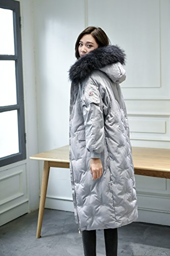 Duck Big Yards Loose The The Grey Jacket Xuanku Knee Down Coat Hair White Female Winter For Down Clothing Over Long Thick Long 7Sz0qzC