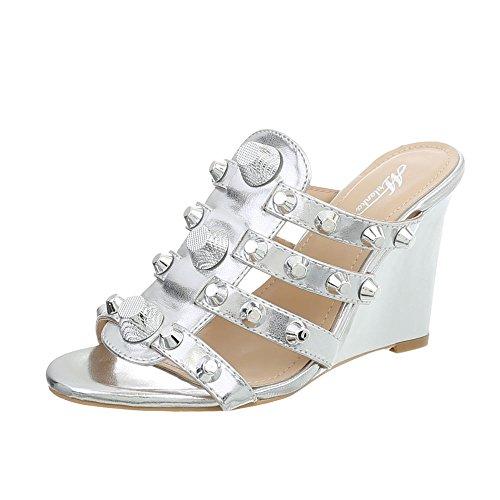 Design mit Silver Ital Damen bei Keilabsatz Sandalen P0P4qdw