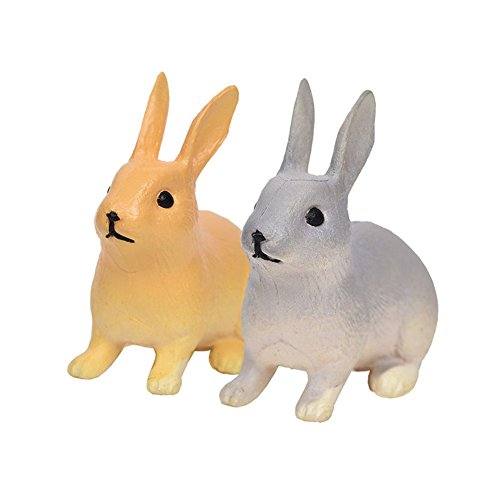 dezirZJjx Mini Micro Landscape,2Pcs Rabbit Ornament Miniature Figurine Fairy Garden Terrarium Landscape Decor - Sitting- Best Indoor Outdoor Decorations for Patio Yard Office and House