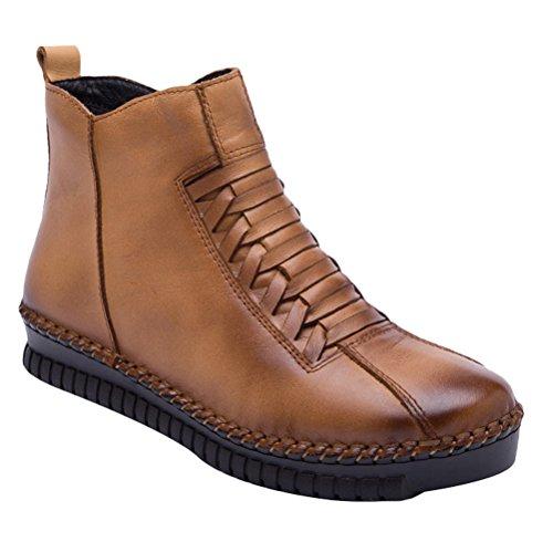 Vogstyle Damen Neue Winter Knöchel Aufladungen Beiläufige Boots Schuhe Style 1-Dunkle Kamel Warm