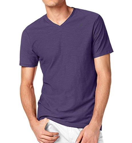 Kenneth Cole Reaction Men's Slub Knit V-Neck T-Shirt-Concord Grape-Large