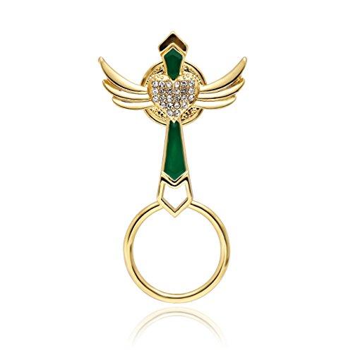 MANZHEN 3Colors Angel Wings Magnetic Brooch Enamel Green Cross Magnetic Eyeglass Holder - Cross Enamel Green