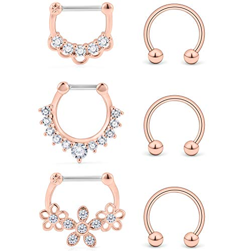 Ocptiy 6PCS 16G Surgical Steel Clear CZ Nose Hoop Septum Ring 10mm Horseshoe Ear Daith Tragus Clicker Rings Retainer Body Piercing Jewelry Rose Gold