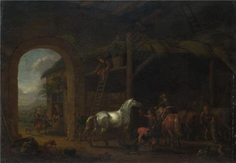 1690 Costume ('Abraham Van Calraet - The Interior Of A Stable,about 1690' Oil Painting, 10x14 Inch / 25x37 Cm ,printed On Perfect Effect Canvas ,this Vivid Art Decorative Prints On Canvas Is Perfectly Suitalbe For Powder Room Artwork And Home Gallery Art And Gifts)
