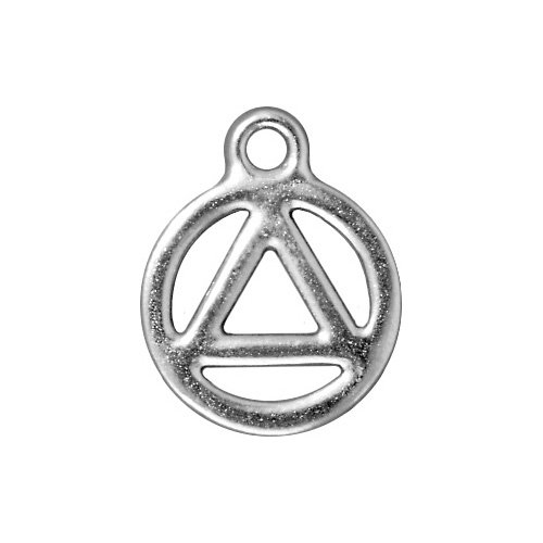 TierraCast Rhodium Plated Pewter Recovery Symbol Charm 19.5mm (1) ()