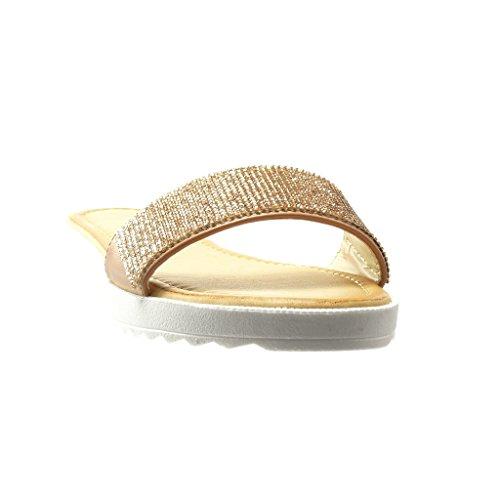 Angkorly - Scarpe da Moda sandali donna strass Tacco tacco piatto 2 CM - Rosa