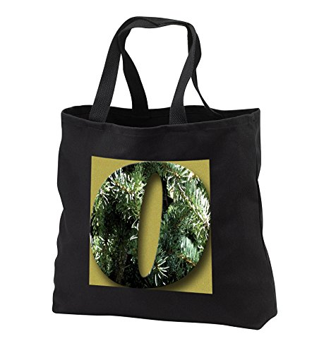 Jos Fauxtographee- Alphabet O - The capital letter O cut out of a watercolor pine tree on green - Tote Bags - Black Tote Bag JUMBO 20w x 15h x 5d (tb_284143_3)