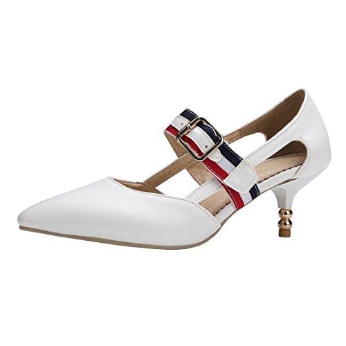 YE Damen Mary Jane Kitten Heels Spitze Pumps mit Riemchen und Stiletto 5cm Bequem Kleid Schuhe Weiß