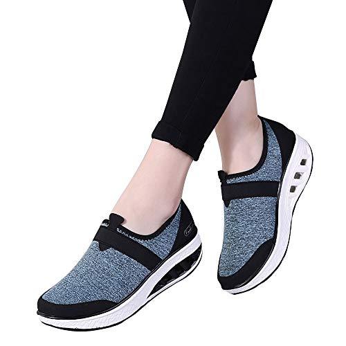 High Leder Stiefel Boots Heels Rocking Wies Dick Schuhe Soled Lässig Casual Damen Keil Freizeitschuhe Schuhe Elastische Turnschuhe Kurze Stiefel Dicke Ferse LOLIANNI Hellblau Booties Erhöhte qzwxUvWa