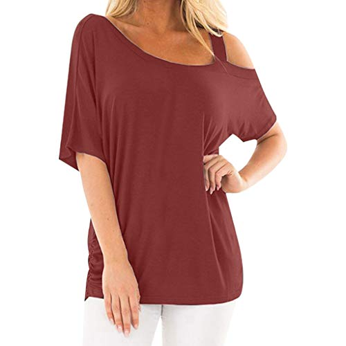 - Pengy Women Off Shoulder Top Strappy T Shirts Short Sleeve Summer Bat Sleeve Casual T-Shirt One-Shoulder Blouse Red