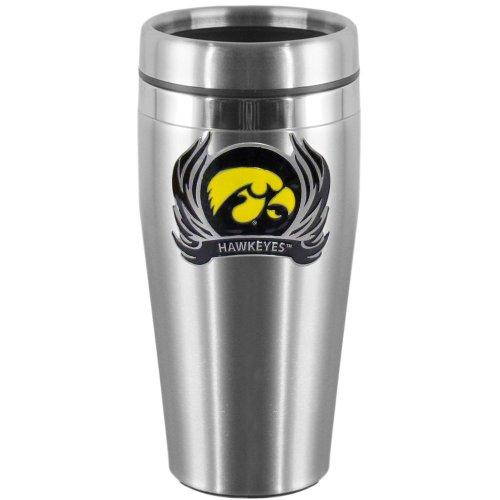 NCAA Iowa Hawkeyes Steel Travel Mug with Flame -