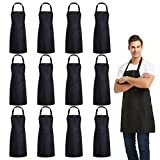 DUSKCOVE 12 PCS Plain Bib Aprons Bulk - Black Commercial Apron with 2 Pockets for Kitchen Cooking Restaurant BBQ Painting Crafting …