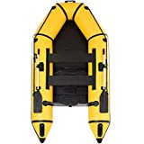 Goplus 2 or 4-Person Inflatable Dinghy Boat Fishing Tender Raft Deep Bottom and Trolling Motor Transom (4-Person 10FT, Yellow 1)