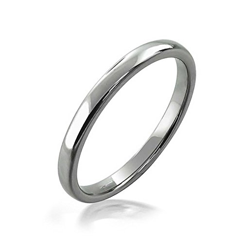 - Bling Jewelry Simple Minimalist Thin Stackable Dome Couples Wedding Band Tungsten Ring for Men for Women Polished Silver Tone 2MM