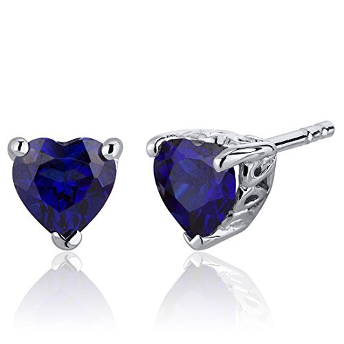 Created Blue Sapphire Heart Shape Stud Earrings Sterling Silver 2.00 Carats by Peora