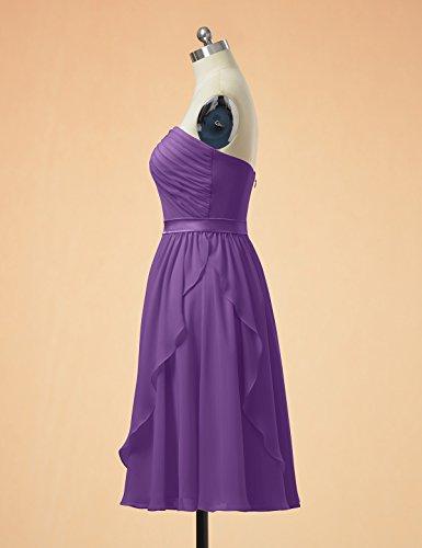 Alicepub Courte Robe De Bal De Soirée En Mousseline De Soie Robe De Demoiselle D'honneur Sans Bretelles Pour Les Femmes Violet