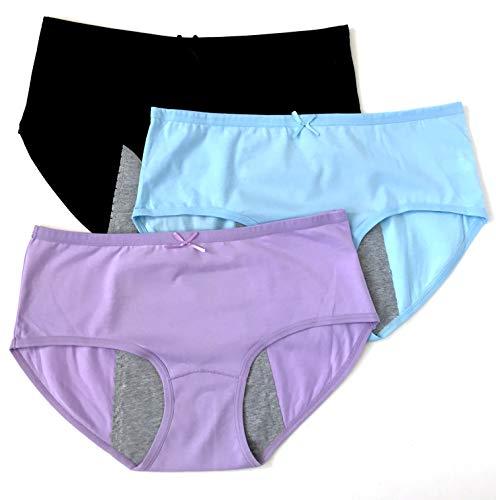 Luna Cup Menstrual Underwear Breathable Period Panties Postartum Inconvience Panty, Pack of 3, for Women Girls (M/L, Black, Blue, Purple)