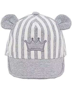 Unisex Baby Kids Striped Crown Cap Soft Beanie Newborn Hat