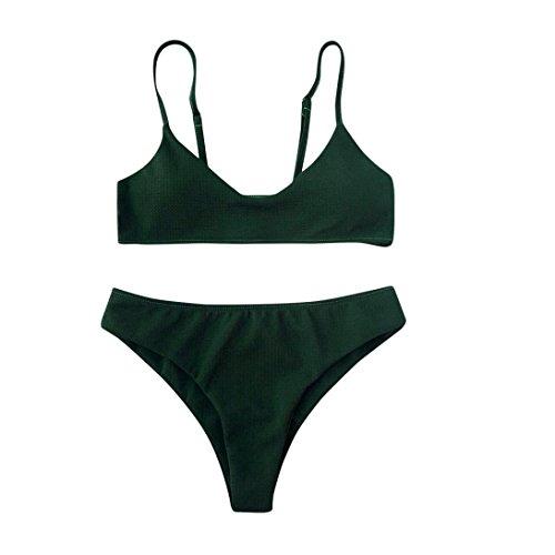 Transer® Frauen Mädchen Bikini Set Padded Push Up Bademode Solide Zweiteilige Badeanzüge Armeegrün