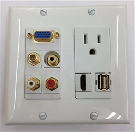 HDMI v1.4 ETHERNET 1 COAX CABLE TV 1 CUSTOM WHITE DOUBLE GANG WALL PLATE