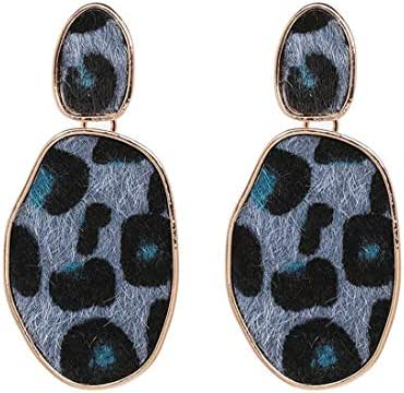 Colorful Geometry Statement Earrings Gift For Women Girl Birthday Wedding Leopard Print