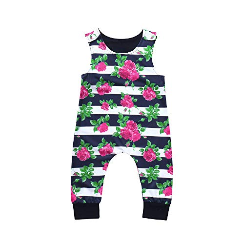 Hutch Dresser Combo - Gonxifacai Sleeveless Cute Kids Toddler Baby Girls Floral Striped Outfits Clothes Romper Jumpsuit(Multicolor,24 Months)