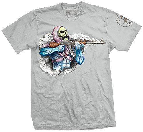 Russian Roulette Clothing Skeletor AK-47 Men's T-Shirt Ash Gray Large (Clothing Ak47)