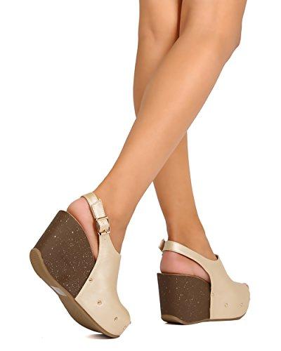 Uppdatera Fg29 Kvinnor Metallisk Läder Peep Toe Plattform Kil Slingback Mule - Champagne