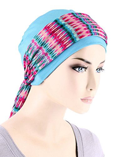 Center Stripe Cap - Womens Sky Blue Chemo Cap with Hot Pink Tie Dye Stripe Print Sash for Cancer Hair Loss