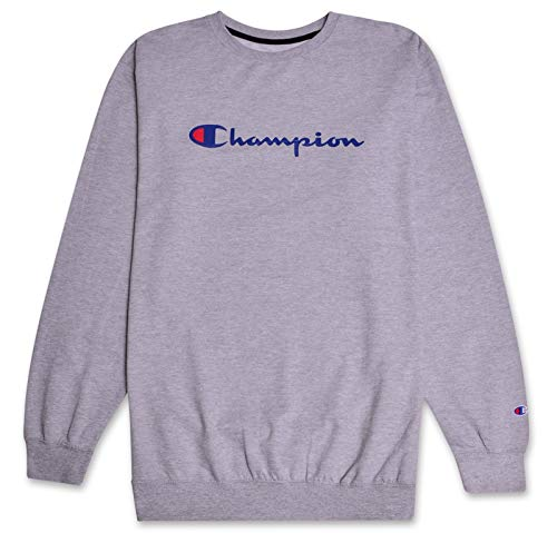 - Champion Mens Big and Tall Crewneck Pullover French Terry Sweatshirt with Script Logo Heather Grey XLT