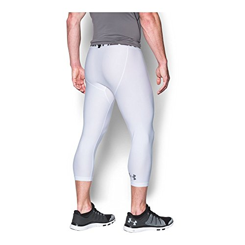 Under Armour Men's HeatGear Armour Compression ¾ Leggings, White/Graphite, Medium