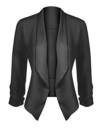 HOT FROM HOLLYWOOD Women's Classic Stretchy Cardigan Blazer with Curved Hemline and Shirring 3/4 Sleeves by HOT FROM HOLLYWOOD (Image #1)