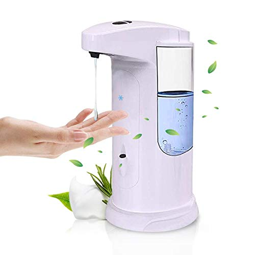 - FoolHome Automatic Soap Dispenser Touchless Liquid Soap Pump White Adjustable 370ML Electric Hand-Free Liquid Dish Soap Dispensers for Kitchen& Bathroom
