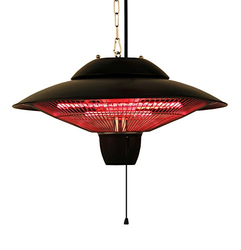 Ener-G+ Indoor/Outdoor Ceiling Electric Patio Heater, Black (Infrared Heater Lamp)