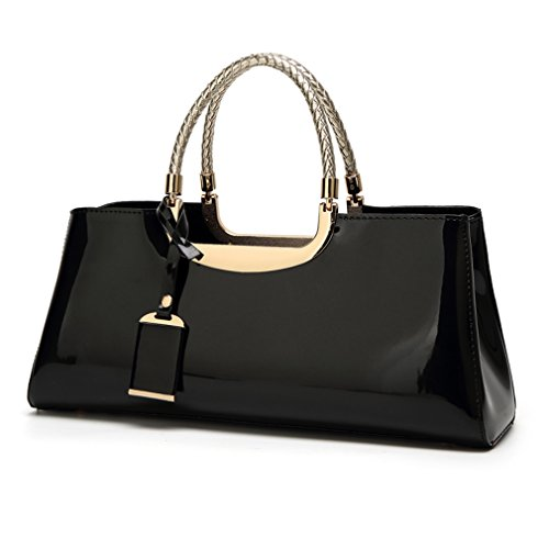 Glossy Faux Patent Leather Structured Shoulder Handbag Women Evening Party Satchel (Black)