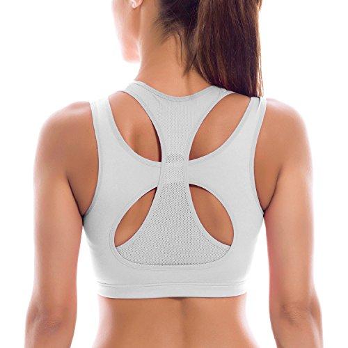 SYROKAN Women's High Impact Full Support Workout Powerback Yoga Sports Bra Top White M