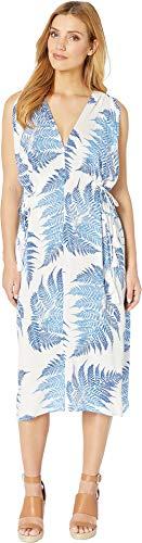 American Rose Women's Naomi V-Neck Tropical Dress White/Blue Medium