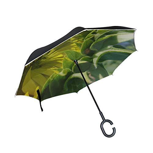 - Rh Studio Inverted Umbrella Rain Sun Car Reversible Umbrella Sunflower Flower Bug Lady Bug Large Double Layer Outdoor Upside Down Umbrella with Women with Uv Protection C-Shaped Handle
