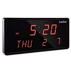 Ivation DBTech 0124BLU Huge Large Big Oversized Digital LED Clock, Blue (Renewed)