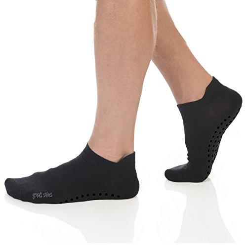 Great Soles Men's Pilates Yoga Tabbed Grip Sock Black/Black Grip, ML)