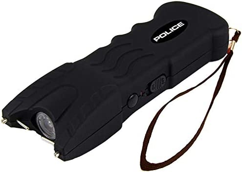 POLICE Stun Gun 916-58 Billion Rechargeable with Safety Disable Pin LED Flashlight, Black