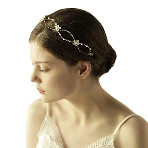 Charming Gold Bridal Wedding Headband Crystal Pearl Flower Headpiece Double Row Crossover Design