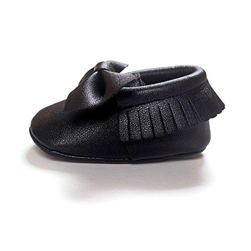 ESHOO bebé piel sintética borla zapatos suela suave Cuna Zapatos Bowknots Prewalker 0–18M A Talla:0-6 meses L